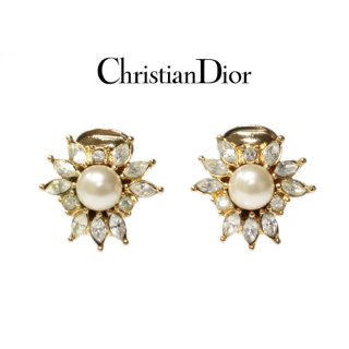 Dior ディオール ヴィンテージ<br>ラインストーンフェイクパールイヤリング