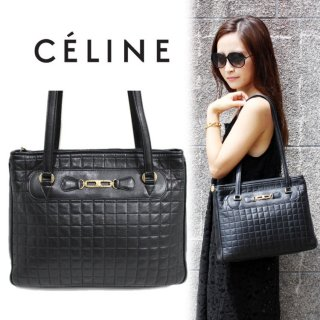CELINE セリーヌ ヴィンテージ<br>ブラゾン金具キルティングトートショルダーバッグ