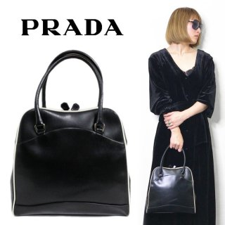 <img class='new_mark_img1' src='https://img.shop-pro.jp/img/new/icons14.gif' style='border:none;display:inline;margin:0px;padding:0px;width:auto;' />PRADA プラダ ヴィンテージ<br>がま口パイピングレザーハンドバッグ