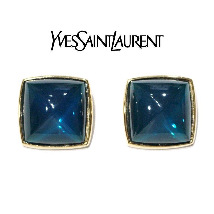YSL イヴサンローラン ヴィンテージ<br>スクエアビッグイヤリング ブルー