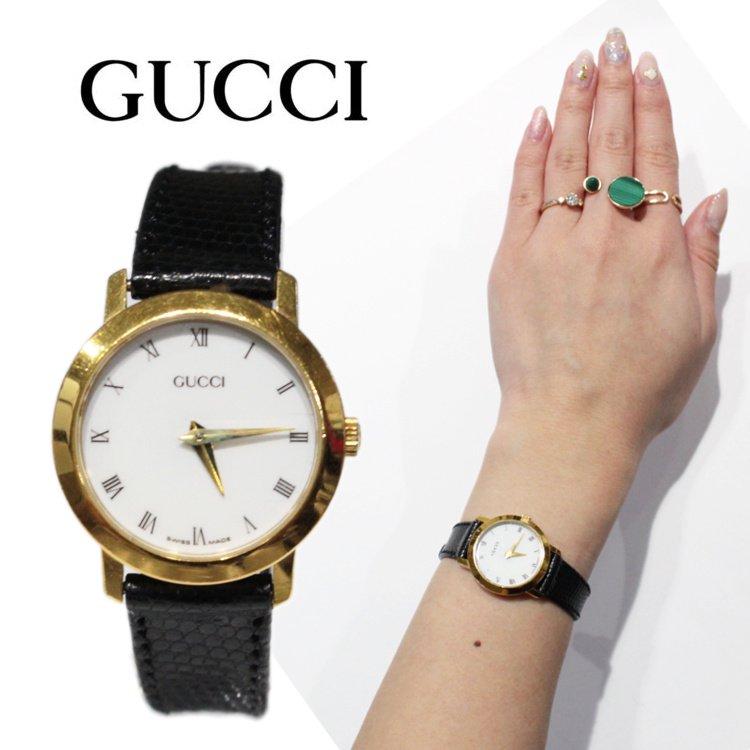 GUCCI グッチ ヴィンテージ<br>レザーベルトQZ腕時計 2200L