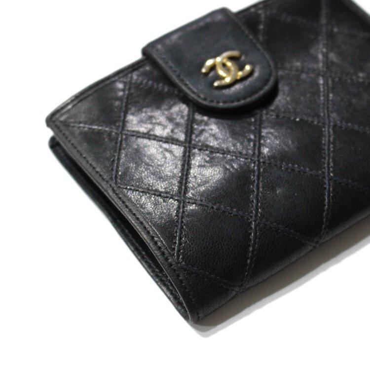 CHANEL シャネル ヴィンテージ<br>ココマーク ビコローレがま口二つ折り財布
