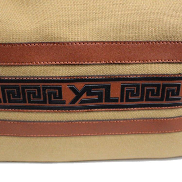 YSL イヴサンローラン ヴィンテージ<br>ロゴキャンバスボストンバッグ