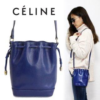 CELINE セリーヌ ヴィンテージ<br>巾着レザーミニショルダーバッグ ブルー