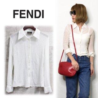 FENDI フェンディ ヴィンテージ<br>ガーゼコットンシャツ XS