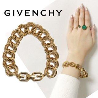GIVENCHY ジバンシー ヴィンテージ<br>ゴールドロゴ×チェーンブレスレット