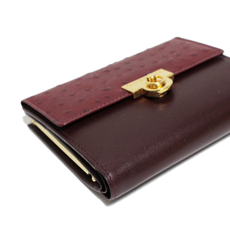 GIVENCHY ジバンシー ヴィンテージ<br>オーストリッチ型押し二つ折り財布 ボルドー