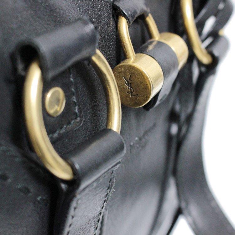 YSL イヴサンローラン ヴィンテージ<br>ミューズレザーハンドバッグ ブラック