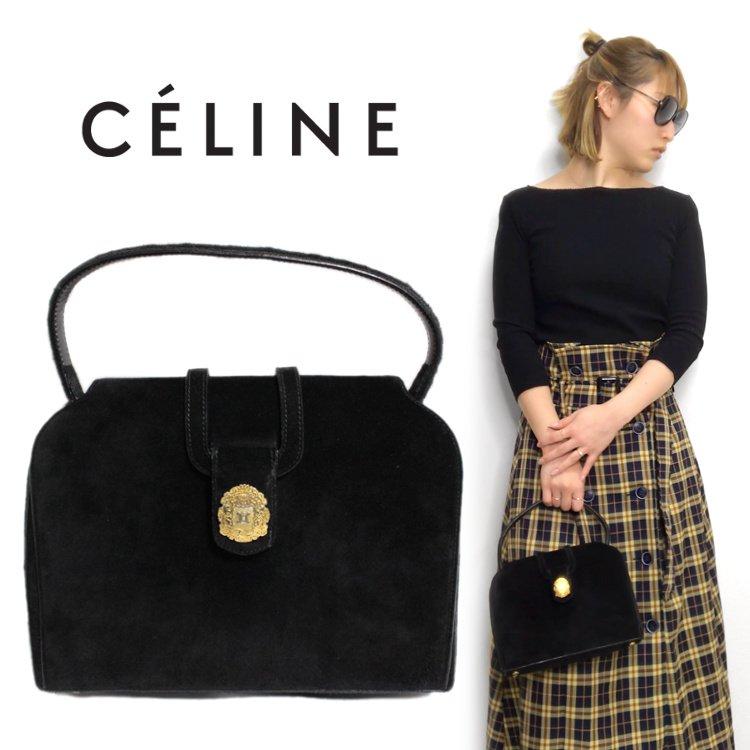 CELINE セリーヌ ヴィンテージ<br>ブラゾン金具スウェードハンドバッグ