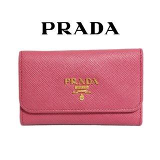 PRADA プラダ ヴィンテージ<br>サフィアーノロゴ6連キーケース ピンク