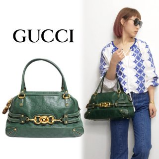 <img class='new_mark_img1' src='https://img.shop-pro.jp/img/new/icons14.gif' style='border:none;display:inline;margin:0px;padding:0px;width:auto;' />GUCCI グッチ ヴィンテージ<br>ホースビットシマボストンバッグ グリーン