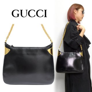 <img class='new_mark_img1' src='https://img.shop-pro.jp/img/new/icons14.gif' style='border:none;display:inline;margin:0px;padding:0px;width:auto;' />GUCCI グッチ ヴィンテージ<br>メタルプレートレザーチェーンショルダーバッグ