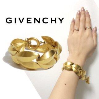 GIVENCHY ジバンシー ヴィンテージ<br>ゴールドリーフデザインブレスレット