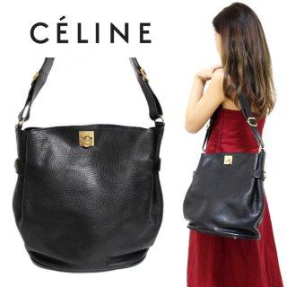 CELINE セリーヌ ヴィンテージ<br>サークルロゴ金具レザーショルダーバッグ