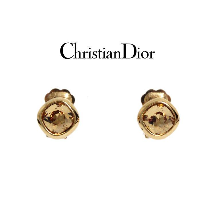 Dior ディオール ヴィンテージ<br>カラーストーンイヤリング イエロー