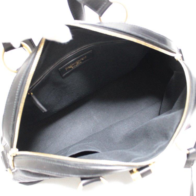 YSL イヴサンローラン ヴィンテージ<br>ミューズコットン×レザーハンドバッグ