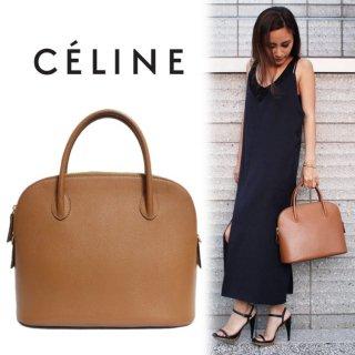 CELINE セリーヌ ヴィンテージ<br>ボリード型レザーハンドバッグ キャメル