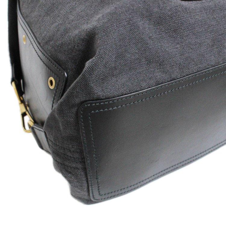 YSL イヴサンローラン ヴィンテージ<br>ロゴワッペンブラックデニムボストンバッグ