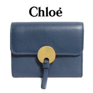 Chloe クロエ【notVintage】<br>INDYインディ三つ折財布 ネイビー