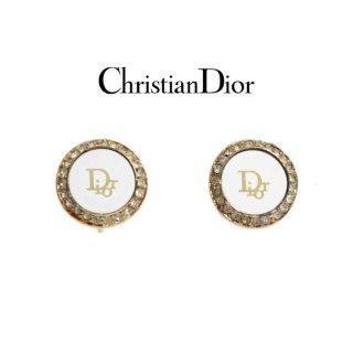 Dior ディオール ヴィンテージ<br>ロゴラインストーンイヤリング