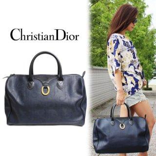 Dior ディオール ヴィンテージ<br>ロゴボストンバッグ ネイビー