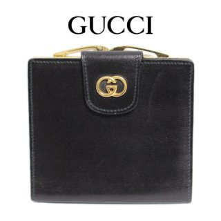 GUCCI グッチ ヴィンテージ<br>ロゴがま口レザー二つ折り財布