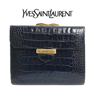 YSL イヴサンローラン ヴィンテージ<br>クロコ型押しがま口二つ折り財布 ネイビー