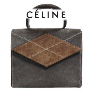 CELINE セリーヌ ヴィンテージ<br>バイカラースウェードハンドバッグ