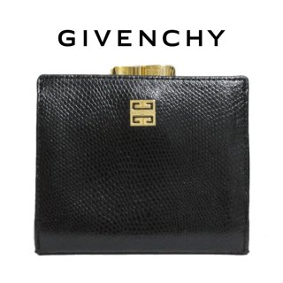 GIVENCHY ジバンシー ヴィンテージ<br>ロゴがま口レザー二つ折り財布