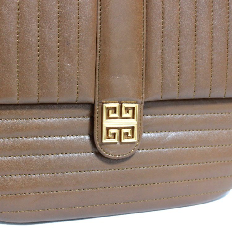GIVENCHY ジバンシー ヴィンテージ<br>SACS ロゴ金具×ステッチショルダーバッグ