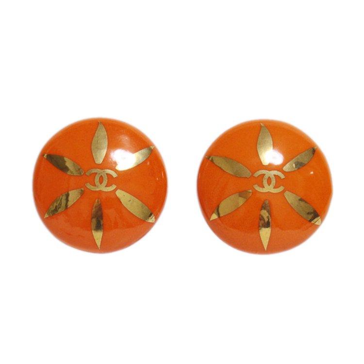 CHANEL シャネル ヴィンテージ<br>90'sココマークペイントイヤリング オレンジ