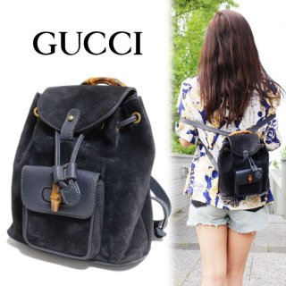 <img class='new_mark_img1' src='https://img.shop-pro.jp/img/new/icons14.gif' style='border:none;display:inline;margin:0px;padding:0px;width:auto;' />GUCCI グッチ ヴィンテージ<br>バンブースウェードミニリュック ネイビー