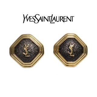 YSL イヴサンローラン ヴィンテージ<br>ロゴ×ストーンイヤリング
