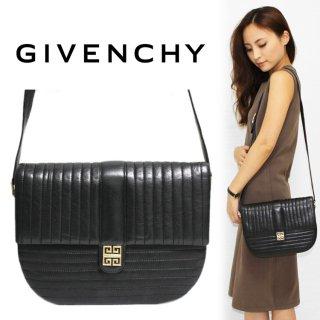 GIVENCHY ジバンシー ヴィンテージ<br>SACS ロゴ金具×ステッチショルダーバッグ ブラック