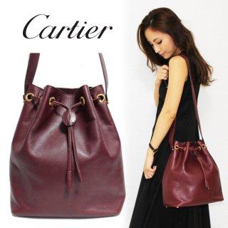 Cartier カルティエ ヴィンテージ<br>マストライン巾着ショルダーバッグ