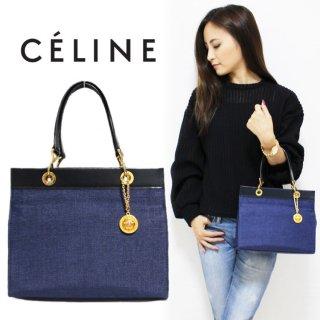 CELINE セリーヌ ヴィンテージ<br>ロゴチャーム付キャンバスレザーハンドバッグ