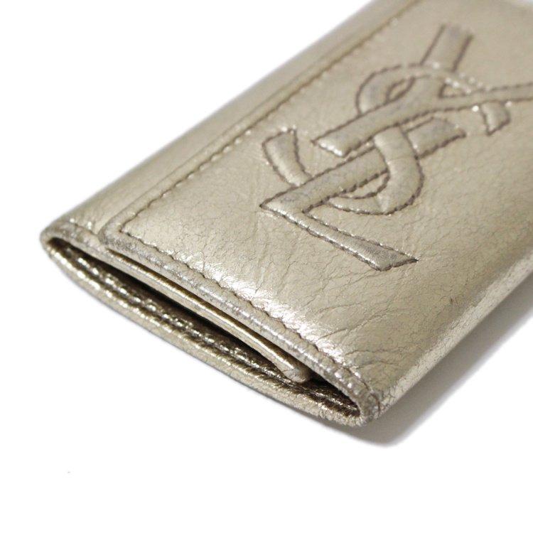 YSL イヴサンローラン ヴィンテージ<br>ロゴ6連キーケース ゴールド