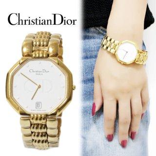 Dior ディオール ヴィンテージ<br>オクタゴンゴールドQZ腕時計 45.154