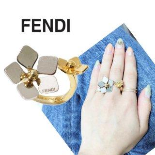 FENDI フェンディ ヴィンテージ<br>フラワーツインリング