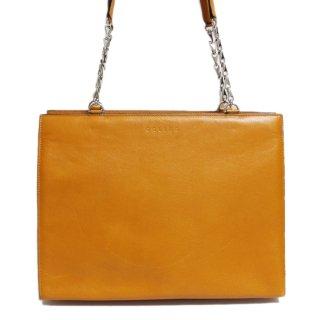 CELINE セリーヌ ヴィンテージ<br>スクエアレザーチェーンショルダーバッグ