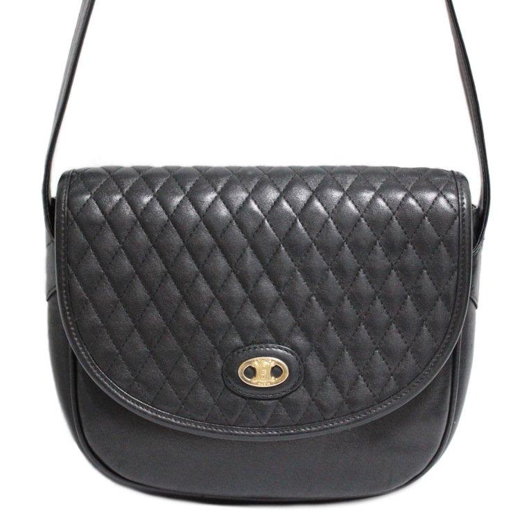 CELINE セリーヌ ヴィンテージ<br>ブラゾンキルティングショルダーバッグ