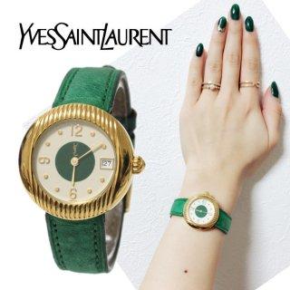 YSL イヴサンローラン ヴィンテージ<br>レザーベルトQZ腕時計 グリーン