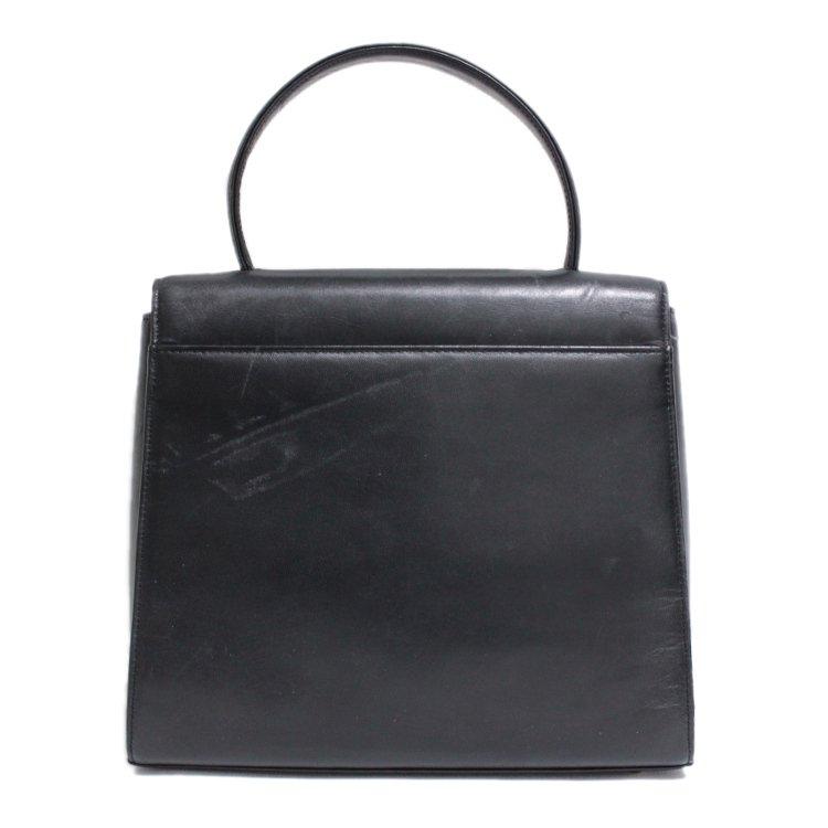 GIVENCHY ジバンシー ヴィンテージ<br>ゴールド金具レザーハンドバッグ