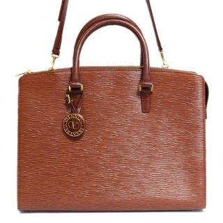 VALENTINO ヴァレンティノ ヴィンテージ<br>2WAYロゴチャーム付レザーショルダーバッグ ブラウン