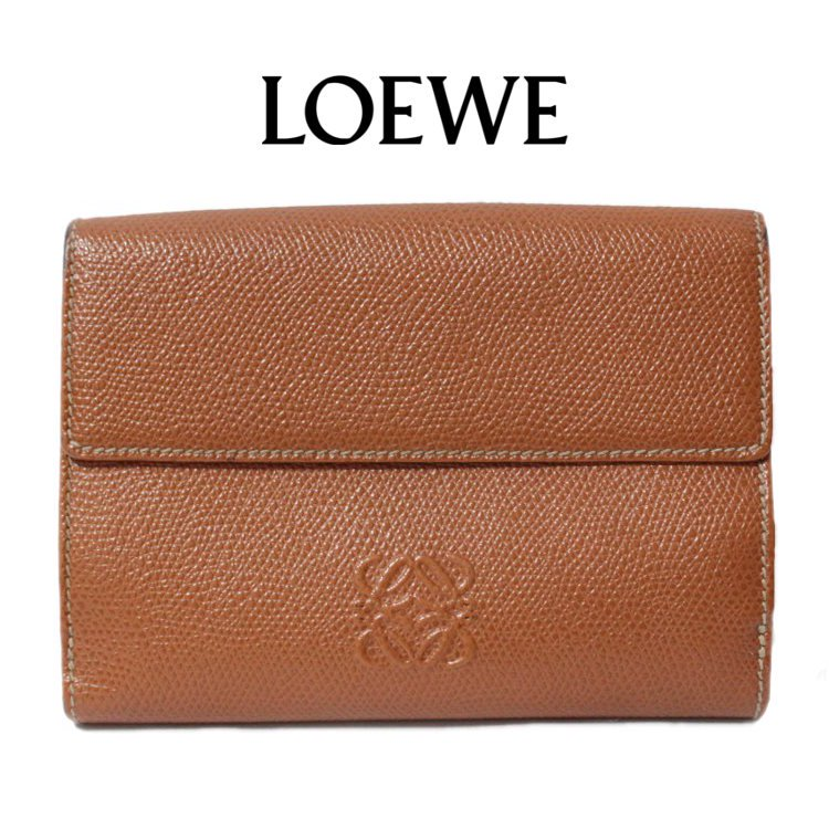 LOEWE ロエベ ヴィンテージ<br>ロゴ二つ折り財布 ブラウン