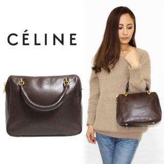 CELINE セリーヌ ヴィンテージ<br>スターモチーフ金具レザーハンドバッグ ブラウン