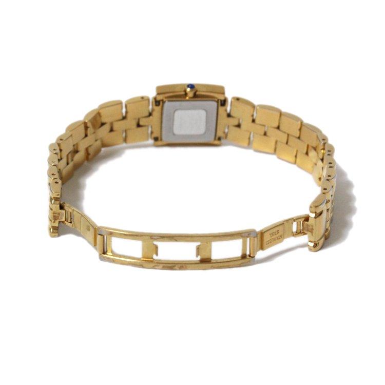 GIVENCHY ジバンシー ヴィンテージ<br>スクエアラインストーンゴールドQZ腕時計