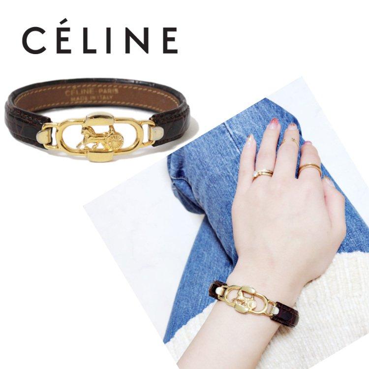 CELINE セリーヌ ヴィンテージ<br>ホースキャリッジ型押しレザーバングル
