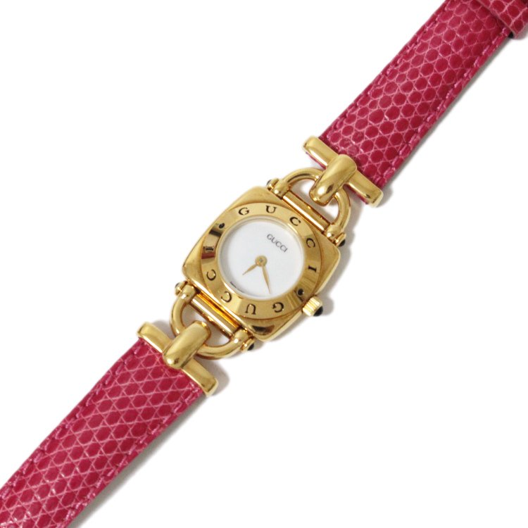 GUCCI グッチ ヴィンテージ<br>ホースビットレザーベルトQZ腕時計 6300L ピンク