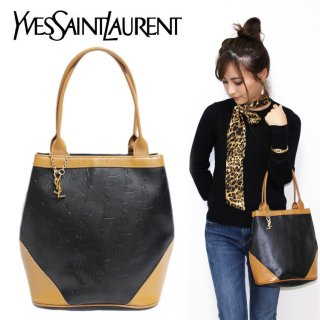 <img class='new_mark_img1' src='https://img.shop-pro.jp/img/new/icons14.gif' style='border:none;display:inline;margin:0px;padding:0px;width:auto;' />YSL イヴサンローラン ヴィンテージ<br>チャーム付ロゴ総柄バイカラーハンドバッグ